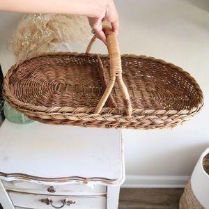Vintage flat long wicker gather basket